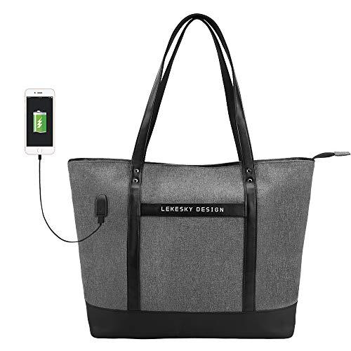 Lekesky Damen Laptop Handtasche 15,6 Zoll Business Laptop Tasche Schultertasche Shopper Große Laptoptasche für Business/Schule/Reisen, Grau