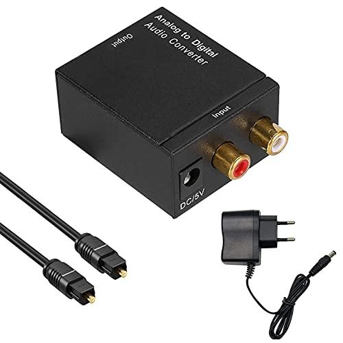 Analog zu Digital Audio Konverter Ozvavzk Analog auf Digital Wandler RCA to Optical Toslink SPDIF Coaxial Audiowandler Analog auf Digital Converter Audio Adapter mit Netzteil 5V/DC und Optischem Kabel