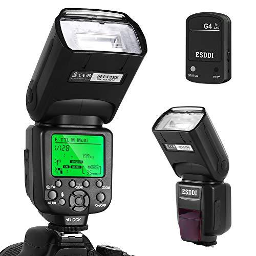 ESDDI Canon Blitzgerät, 1/8000 HSS Wireless Flash Speedlite GN58 2.4G Funk Master Slave für Canon, Professional Blitz Kit mit Wireless Flash Trigger