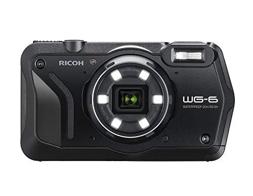 RICOH WG-6 Schwarz Wasserdichte Kamera Hochauflösende Bilder mit 20MP 3-Zoll-LCD Wasserdicht bis 20m Stoßfest bis Fallhöhe von 2,1m Unterwassermodus Ring mit 6-LEDs für Makroaufnahmen