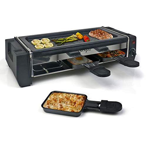 Raclette Grill für 2 Personen mit Antihaftbeschichtung Grillplatte 3 Mini Raclette Pfännchen, 700W