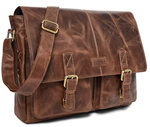 LEABAGS Cambridge Leder-Umhängetasche I Laptoptasche bis 15 Zoll I Messenger Bag aus echtem Büffel-Leder im Vintage Look I Ledertasche I Schultertasche I Arbeitstasche I 38x10x31cm (Crazyvinkat)
