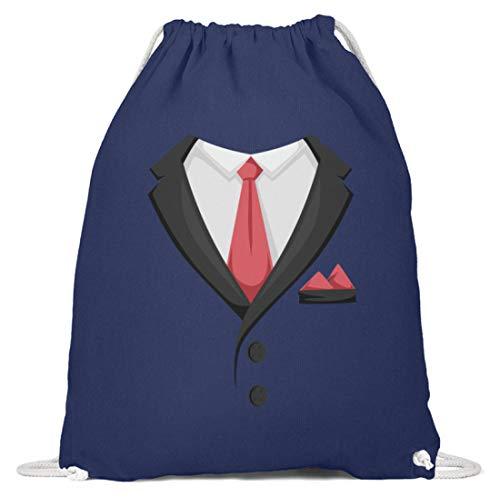 generisch Faschingskostüm Smoking Krawatte Karneval Herren Anzug Turnbeutel Schlips - Baumwoll Gymsac -37cm-46cm-Marineblau