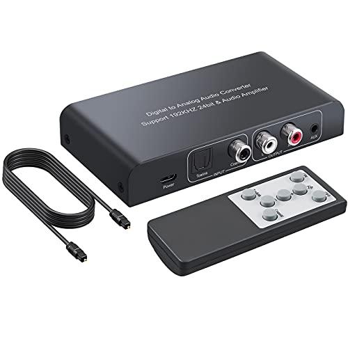 DA Wandler PROZOR 192kHz DAC Konverter Digital zu Analog Audio Konverter Stereo L/R RCA 3.5mm Audio Adapter mit Fernbedienung Unterstützt Lautstärkeregler/Mute/Power ON oder Off