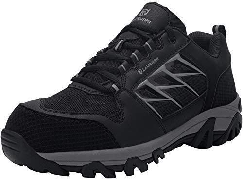 LARNMERN Sicherheitsschuhe Arbeitsschuhe Herren, Sicherheit Stahlkappe Stahlsohle Anti-Perforations Luftdurchlässige Schuhe (47 EU, Schwarz)