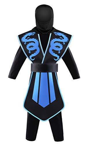 Seawhisper Ninja Kostüm Kinder Junge Faschingskostüme Karnevalskostüme Kinderkostüme Fasching Karneval Halloween Blau 122