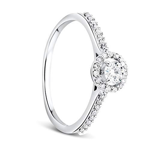 Orovi Damen Ring Weißgold 0.18 Ct Zentraler Solitär Diamant Verlobungsring 9 Karat (375) Gold und übrige Diamanten Brillanten 0.13 Ct