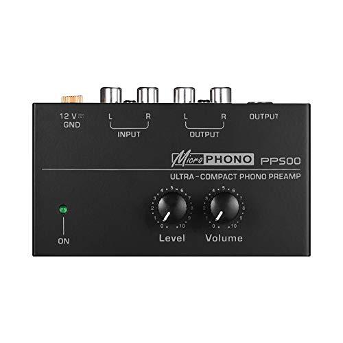 Muslady Vorverstärker Hochkompakt Phono mit Niveau & Volumen Kontrollen RCA Eingang & Ausgabe 1/4 in TRS Ausgabe Schnittstellen