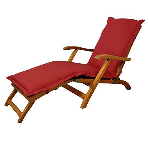 IND-70436-AUDC Deck Chair Auflage Premium, extra dicke Polsterauflage für Liegestuhl mit Reißverschluss, 190 x 50 x 9 cm, Rot