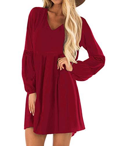 YOINS Sexy Kleid Damen Sommerkleid für Damen Babydoll Kleider Brautkleid Tshirt Kleid Rundhals Langarm Minikleid Langes Shirt Lose Tunika Strandkleid Baumwolle-rot S