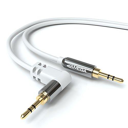 JAMEGA – 3m AUX Kabel Weiß | Stereo Audio Klinkenkabel 3,5mm Klinkenstecker 90° gewinkelt auf 3,5mm Klinkenstecker kompatibel mit Kopfhörer, Echo Dot, Heim/Auto Stereoanlage, iPhone, iPad, UVM.