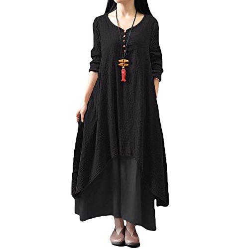 Romacci Damen Beiläufige Lose Kleid Fest Langarm Boho Lang Maxi Kleid S-5XL Schwarz/Weiß/Rot/Gelb, Schwarz, M