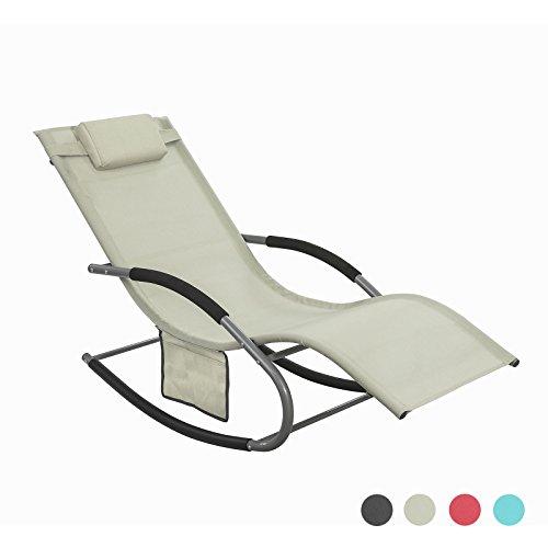 SoBuy OGS28-MI Sonnenliege Swingliege Schaukelliege Liegestuhl Gartenliege mit Tasche Gewebe in Beige