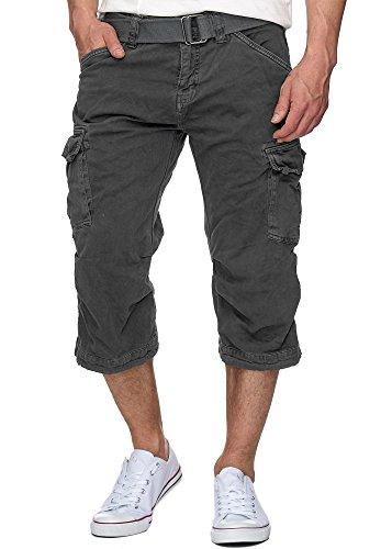 Indicode Herren Nicolas Check 3/4 Cargo Shorts kariert mit 6 Taschen inkl. Gürtel aus 100% Baumwolle | Kurze Hose Sommer Herrenshorts Short Men Pants Cargohose kurz für Männer Raven L