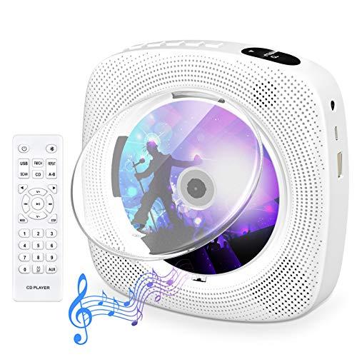 Tragbarer CD Player mit Bluetooth, Gueray Wandmontierbares CD Player Eingebaute HiFi-Lautsprecher mit LCD-Bildschirm, Home Audio Boombox FM-Radio USB MP3-Musik-Player