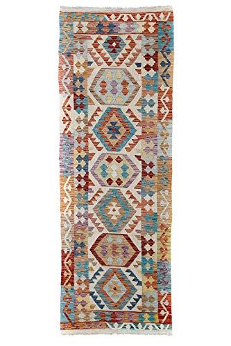 CarpetFine: Kelim Afghan Teppich 85x243 Multicolor - Geometrisch