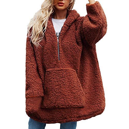 NPRADLA 2018 Herbst Lose Damen Sweatshirtjacke Winter Elegant Langarm Frauen Mantel Jacke Outwear Wolle Warme Künstliche Mit Kapuze Reißverschluss Parka Oberbekleidung