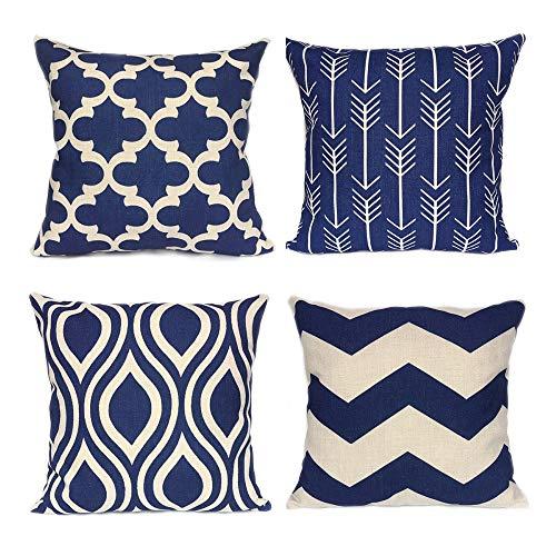 4er Set Dekorativ Kissenbezug Geometrische Muster, Sofa Büro Dekor Kissenhülle aus Baumwoll und Leinen (Dunkelblau, 40X40cm)