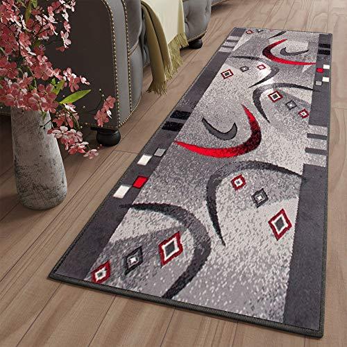 TAPISO Dream Läufer Teppich Meterware Flur Brücke Modern Streifen Bumerang Grau Rot Schwarz Schlafzimmer Wohnzimmer ÖKOTEX 80 x 200 cm