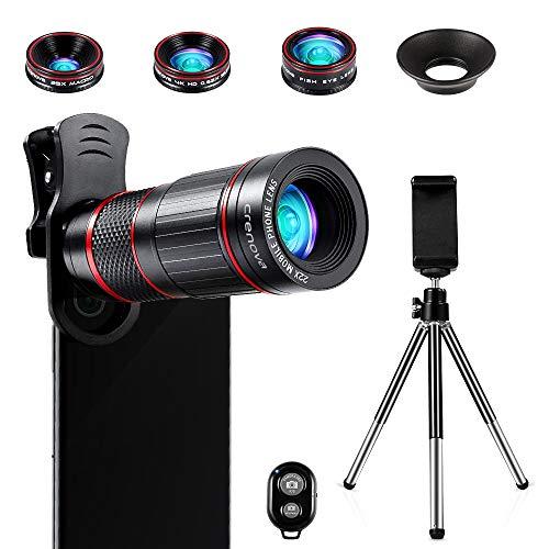 Crenova Handy Objektiv Kamera Linse Kit 22x Zoom Teleobjektiv, 235° Fischaugen objektiv, 25 Makro Objektiv und 0,62 Weitwinkel objektiv für Iphone und die meisten Android Smartphone