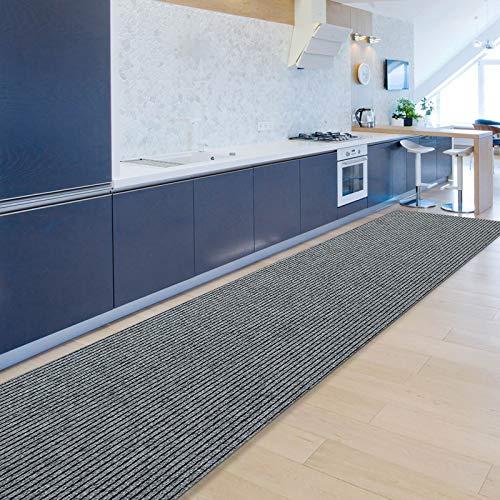 Floordirekt Küchenläufer Granada | Teppich-Läufer auf Maß für die Küche | Breite: 80 cm, viele Farben | Moderne & hochwertige Wohnteppiche (Grau, 80 x 300 cm)