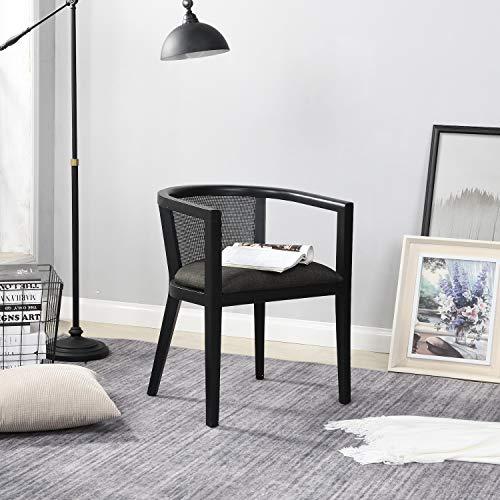 B&D home - Rattan Sessel skandinavisch Schwarz | Lesestuhl Wohnzimmer | Fernsehsessel bis 150kg | arm Chair Relax Chair