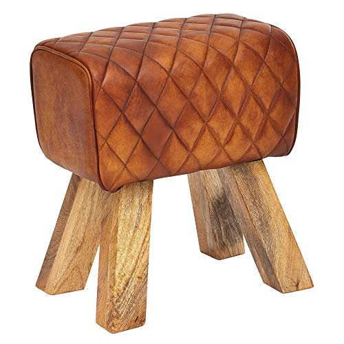 FineBuy Sitzhocker Echtleder/Massivholz 40x48x27 cm Modern Fußhocker | Turnbock Lederhocker Braun | Kleiner Hocker Gepolstert | Holzhocker mit Leder-Bezug