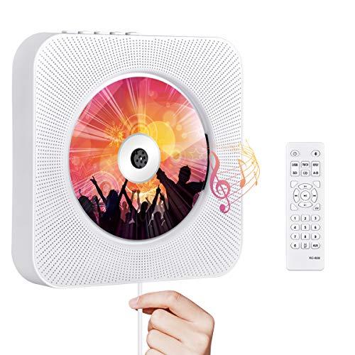 Tragbarer CD Player, Qoosea Wandmontierbar Bluetooth Eingebaute HiFi-Lautsprecher für Kinder, Music Player Heim-Audio-Boombox mit Fernbedienung, FM Radio, LCD-Display MP3 Kopfhöreranschluss