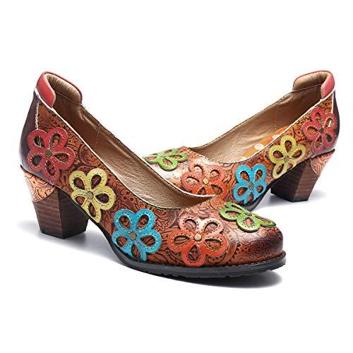 Camfosy Damen Leder Pumps Absatz,Frau Bunte Mary Jane Schuhe Handgefertigt Blumen Bootsschuhe Mokassins Elegant Loafers Bequem Halbschuhe Slip-Ons Damenschuhe