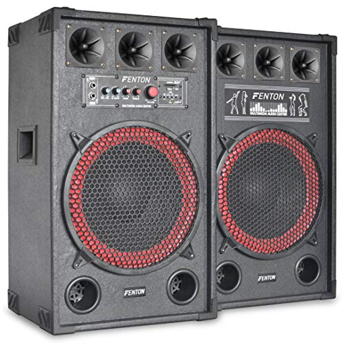 Fenton SPB-12 - PA Lautsprecher, Aktivboxen Set, 800 Watt max, 30 cm (12')-Subwoofer, Bluetooth, USB-Port, SD-Slot, 2 x 6,3 mm-Klinke-Mic-In, Cinch-Line-In, schwarz