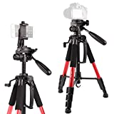 Stativ-POLAM-FOTO 140cm Fotostativ, Reisekamera Stativ mit Tragetasche f¨¹r SLR/DSLR passt mit Canon/Nikon/Sony/etc.(Rot)