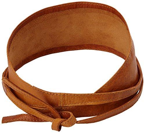 PIECES Damen Gürtel VIBS LEATHER TIE WAIST BELT, Einfarbig, Gr. 75 cm (Herstellergröße: 75), Braun (Cognac)