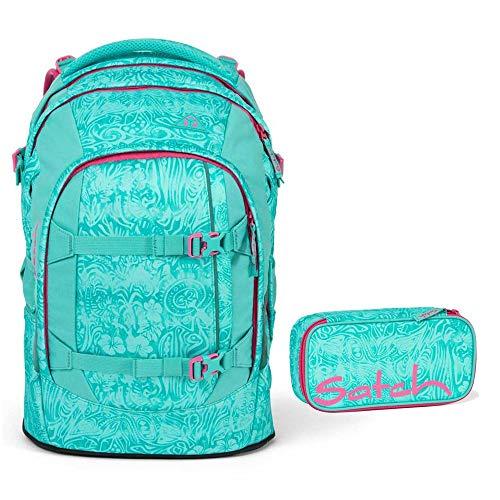 Satch Pack Schulrucksack-Set 2tlg: Schulrucksack und Schlamperbox (Aloha Mint)