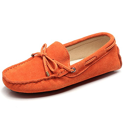 Jamron Damen Klassisch Wildleder Krawatte Loafers Gemütlich Handgefertigt Mokassins Slippers Orange 24208-2 EU42