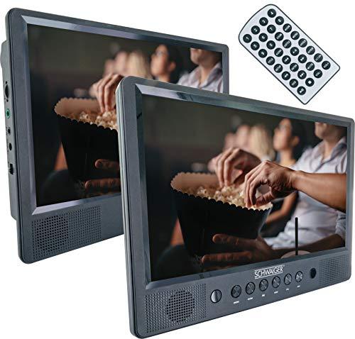 Schwaiger 716474 - Tragbarer DVD/CD Player|10 Zoll Bildschirm|1 Fernbedienung|SD/USB|mit Standfuß|mit Befestigunsmaterial fürs Auto