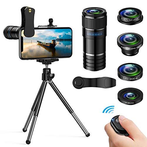 Handy Objektiv Kamera Linse Kit- 5 in 1 Universal Phone Objektiv, 12x Teleobjektiv+0,65x Weitwinkel &12x Makro Objektive+ 180°Fisheye Objektiv+ Starburst Objektiv für Iphone und die meisten Smartphone