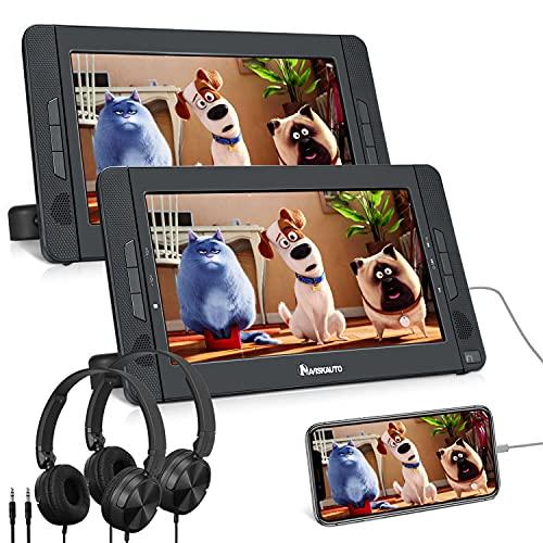 NAVISKAUTO 10,1' DVD Player Auto 2 Monitore HDMI Eingang Tragbarer DVD Player 5 Stdn. Spielzeit 1024 * 600 HD mit 2 Kopfhörer Kopfstützenhalterung