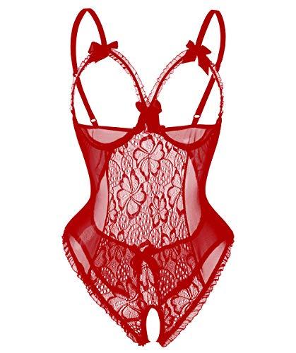 Avondii Damen Transparent Reizwäsche Oberteil Lingerie Bodysuit Nachtwäsche (M, Rot)
