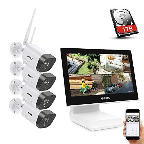ANNKE 3MP Funk Überwachungskamera Set mit 10.1 Zoll Monitor, 4CH 5MP NVR und 4 x 1296 IP Kameras Außen mit 1TB Festplatte unterstützt IR-Nachtsicht, Audioaufzeichnung, kompatibel mit Alexa