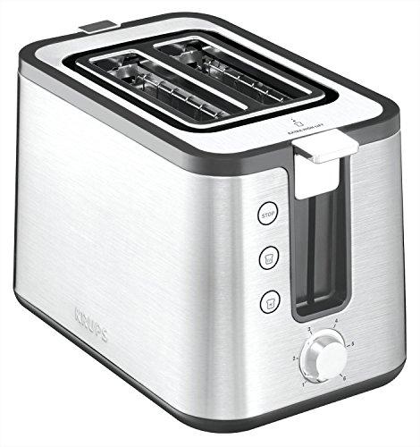 Krups KH442D Control Line Premium Toaster   Edelstahl   2 kurze Schlitze für 2 Scheiben   Brötchenaufsatz   6 Bräunungsgrade   850 W   Silber/ Schwarz