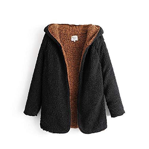 QWY Winterjacke Frauen windundurchlässiges Mantel mit Kapuze dünnen Mantel-Graben-Outwear Mantel mit Tasche,Black-L