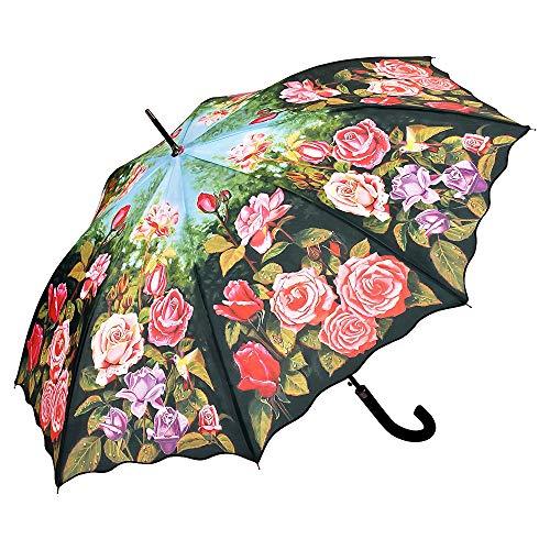 VON LILIENFELD Regenschirm Automatik Damen Motiv Blumen Floral Rosengarten