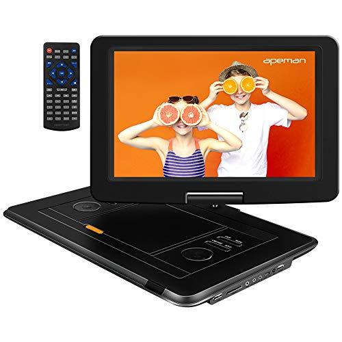 APEMAN Tragbarer DVD Player mit 15,5'' HD Schwenkbarem Bildschirm, CD Player für Auto und Kinder, 6 Stunden Akku, Unterstützt SD/USB/Spiele Joystick, Sync TV/Projektor/DVD, Region Frei, Schwarz