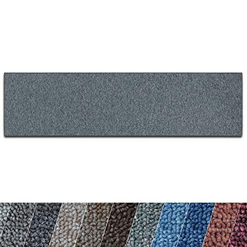 casa pura Teppich Läufer London | Meterware | Teppichläufer für Wohnzimmer, Flur, Küche usw. | Flacher Schlingenflor | mit Stufenmatten kombinierbar (Dunkelgrau - 66x100 cm)