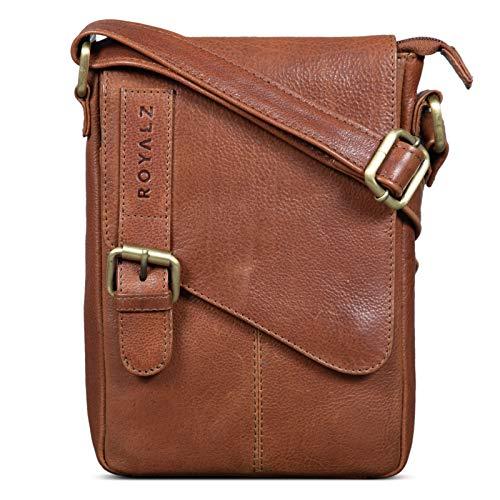 ROYALZ Leder Umhängetasche Klein für Männer Herren Ledertasche Mini Seitentasche Vintage Look Tasche zum Umhängen, Farbe:Texas Braun