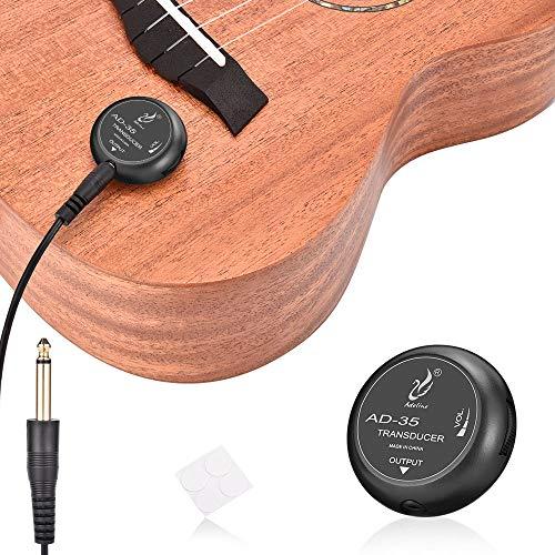 OTraki PiezoTonabnehmer Mini Piezo Pickup Kontakt Mikrofon Transducer mit 6,35mm Ausgangstecker für Gitarre Violine Banjo Mandoline