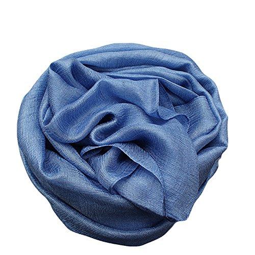 UK_Stone Damen Übergroesse Luxus Einfarbig Sarong Pareo Strandtuch Wickeltuch Bikini Sonnenschutz Decke Cover-up Schal (Jeans Blau)