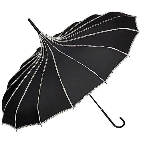 VON LILIENFELD Regenschirm Damen Sonnenschirm Brautschirm Hochzeitsschirm Pagode Ziernähte Justine schwarz