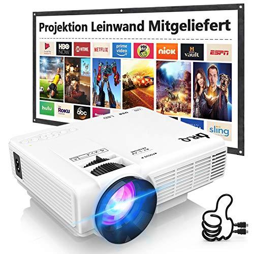 DR. Q HI-04 Beamer mit 100 Zoll Screen, Beamer Full HD 6000 Lumens, Mini Beamer Unterstützt 1080P Full HD, Projektor Kompatibel mit TV Stick Smartphone Tablet HDMI VGA USB, Heimkino Beamer, Weiß.
