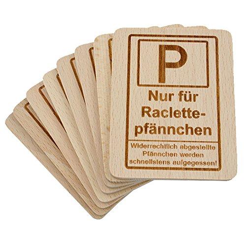 8 Stück Raclette Untersetzer mit Lasergravur'Raclettepfännchen Parkplatz' aus Buchenholz, 100x80x7mm